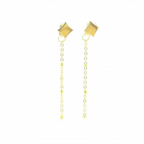 BO 2 en 1 puces carrées + chaînes dorées