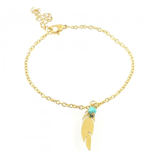 BRA plume, perles et chaîne inox or