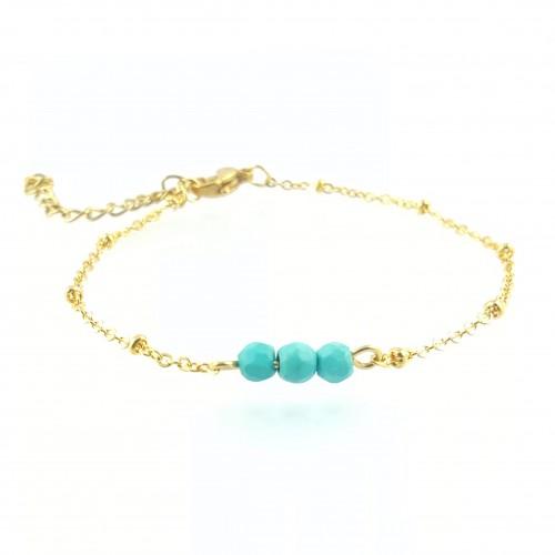 BRA chaîne dorée et 3 perles turquoises