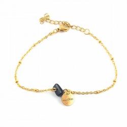 BRA chaîne dorée pépite agate - sublime