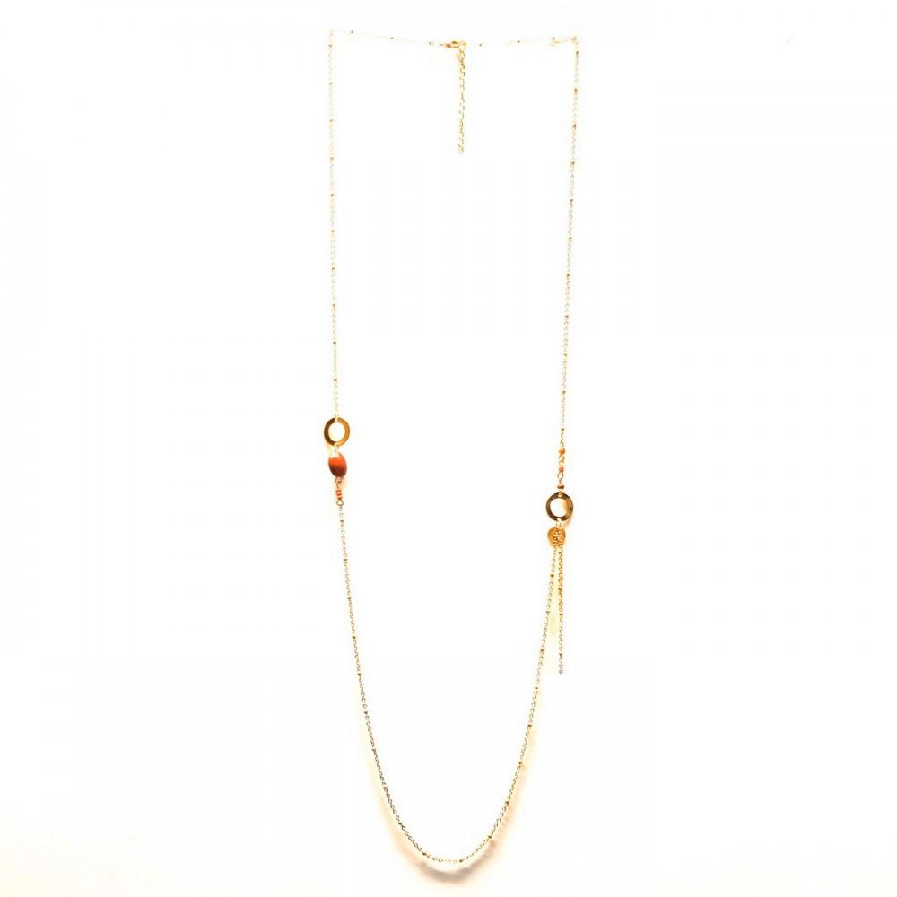 COL long doré perles rouges