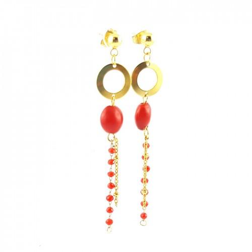 BO pendantes cercle et perles rouges