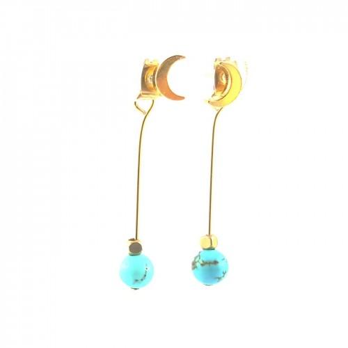 Boucles 2 en 1 lune et turquoise