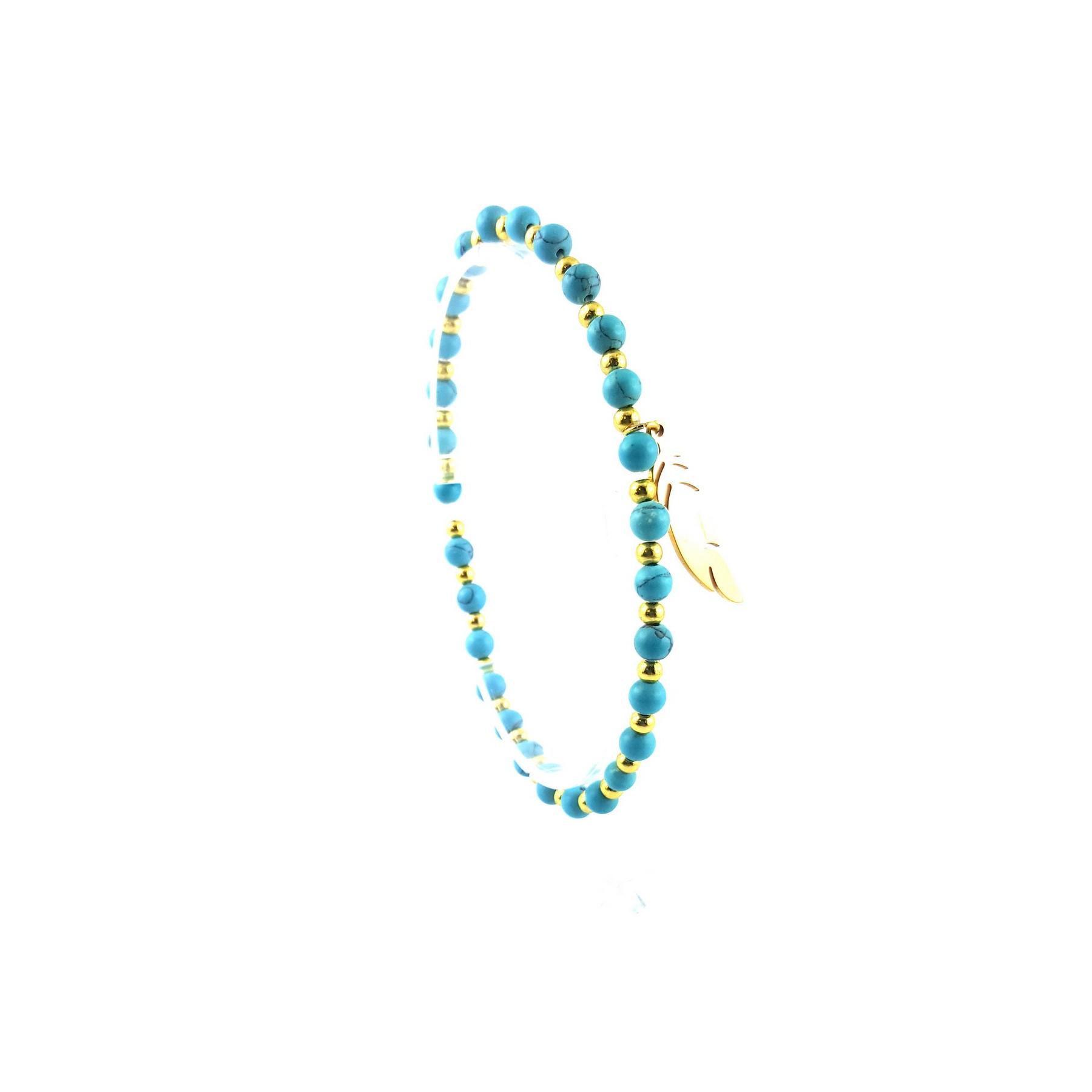 Bracelet turquoise et plume doré