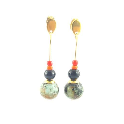 Boucles d'oreilles turquoise africaine et agate noire