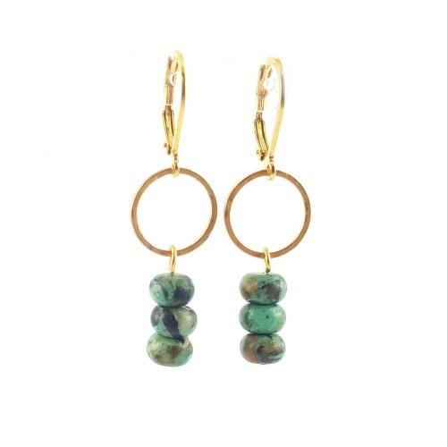 Boucles d'oreilles turquoise africaine sur cercle