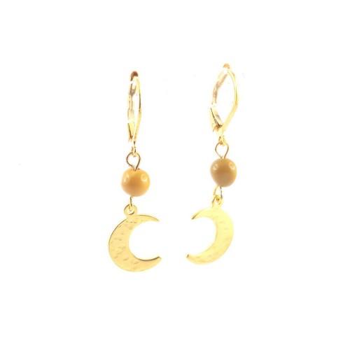 Boucles d'oreilles demi-lune dorée martelée