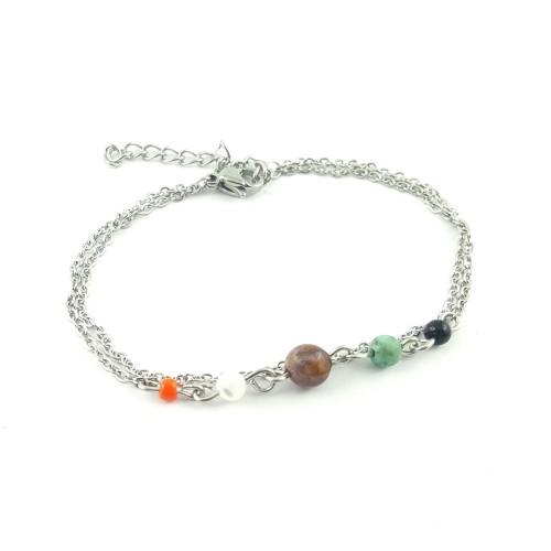 Bracelet double chaîne et perles
