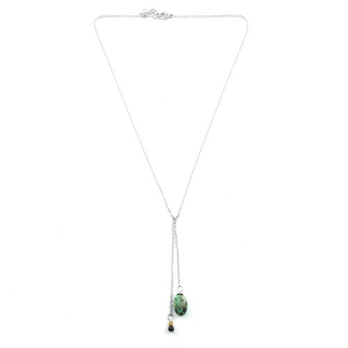 Collier double pendentif turquoise africaine