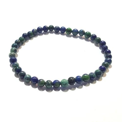 Bracelet élastique lapis et chryso 4mm
