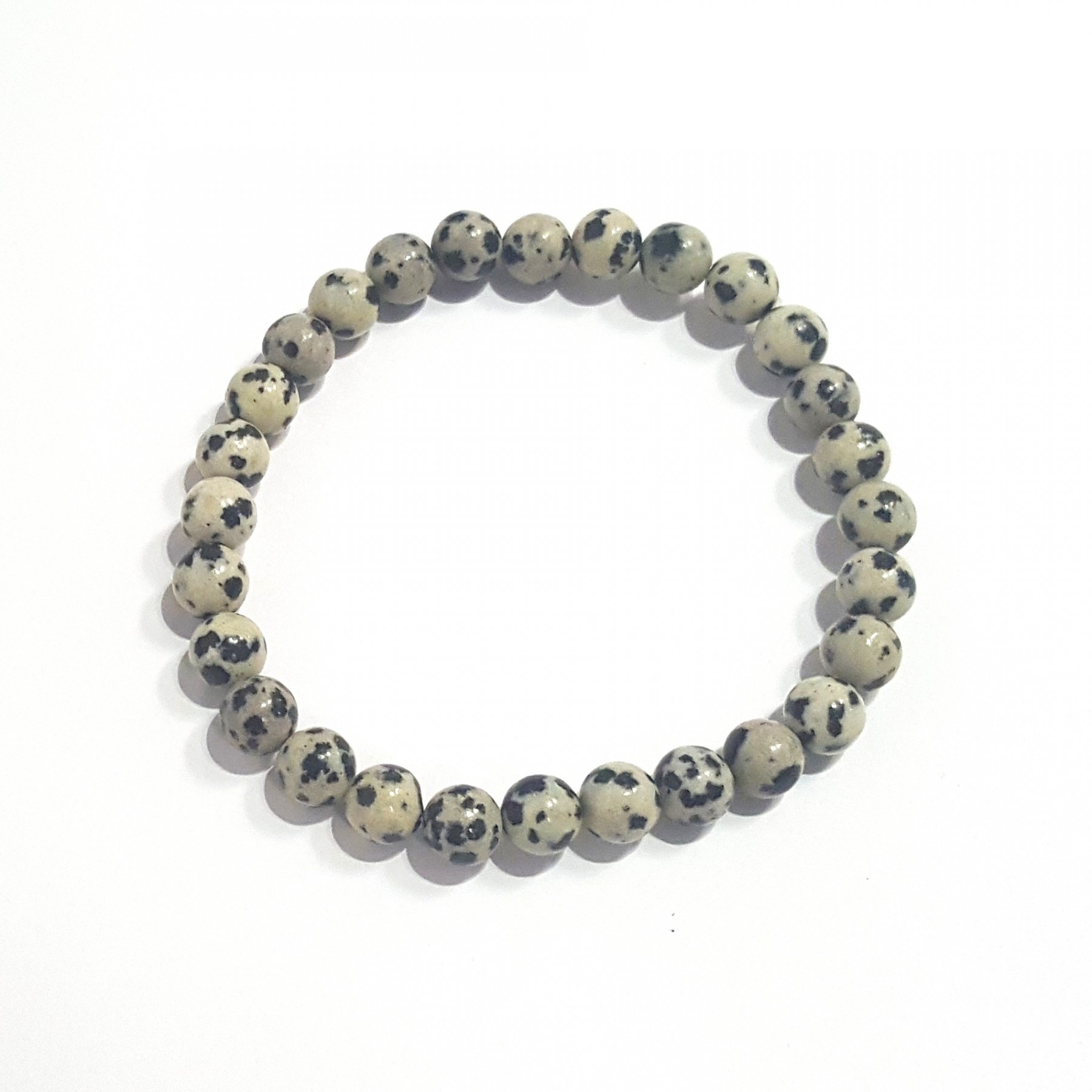 Bracelet mixte jaspe dalmatien élastique