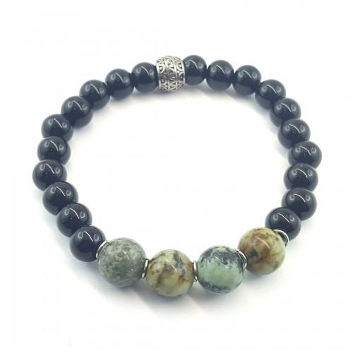 Bracelet élastique turquoise africaine