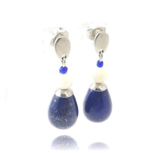 Goutte lapis lazuli et nacre sur clou