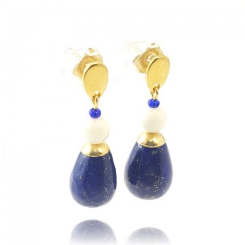 Goutte lapis lazuli et nacre sur clou doré