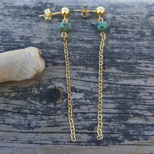 Boucles d'oreilles chaîne et perle turquoise