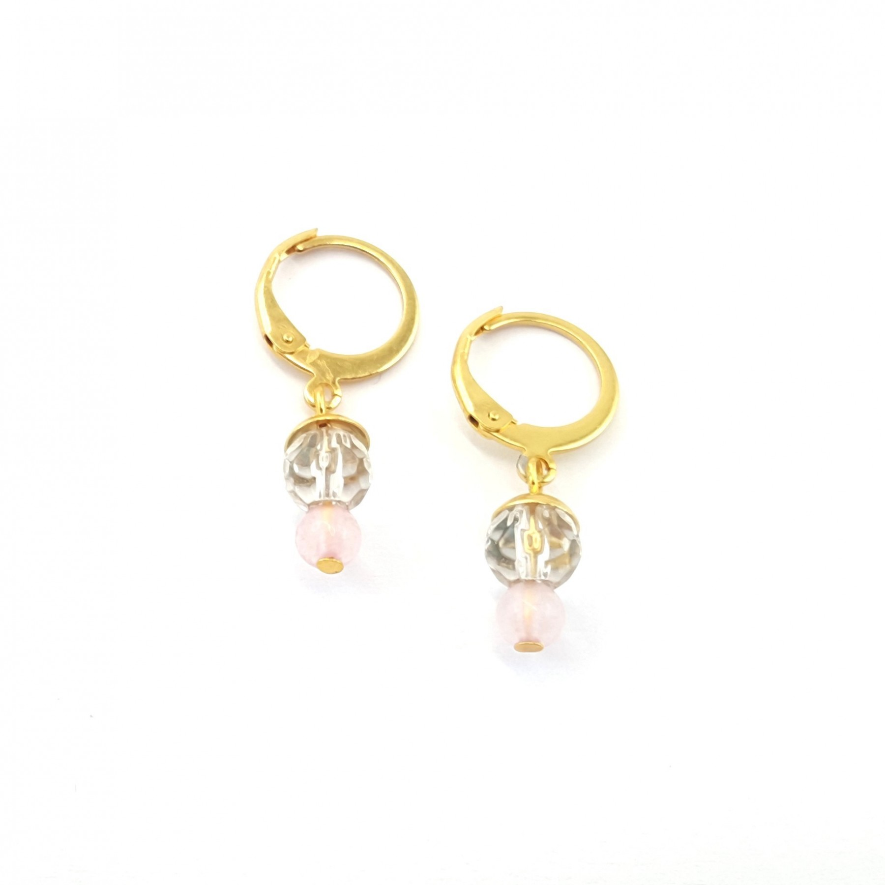 Mini-dormeuses quartz rose