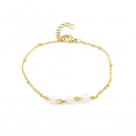 Bracelet chaîne quartz rose