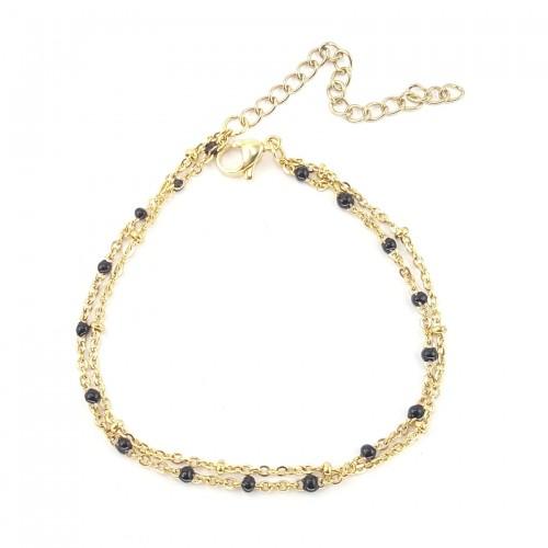 Bracelet émaillé noir double chaîne