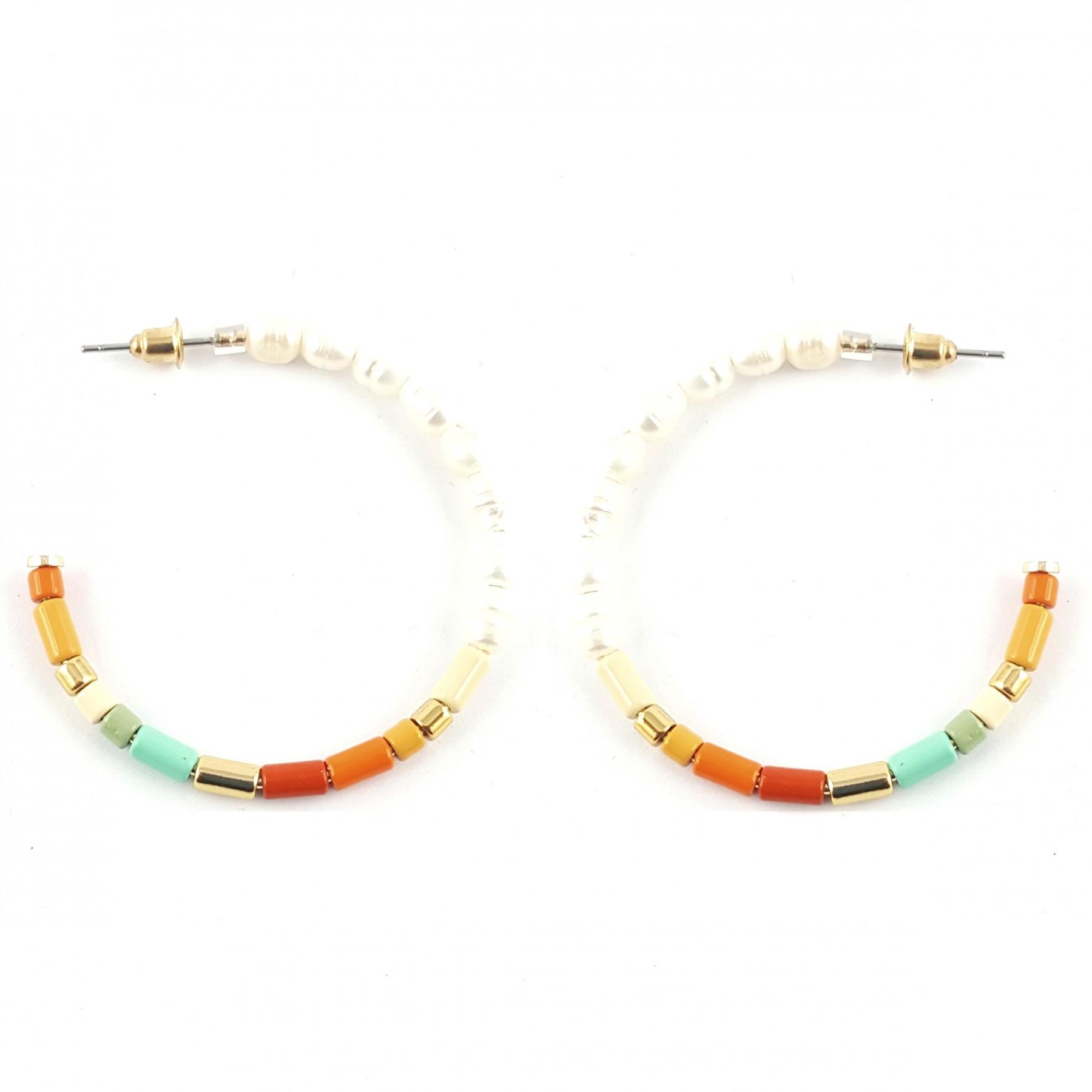 Créoles multicolores et perle d'eau douce
