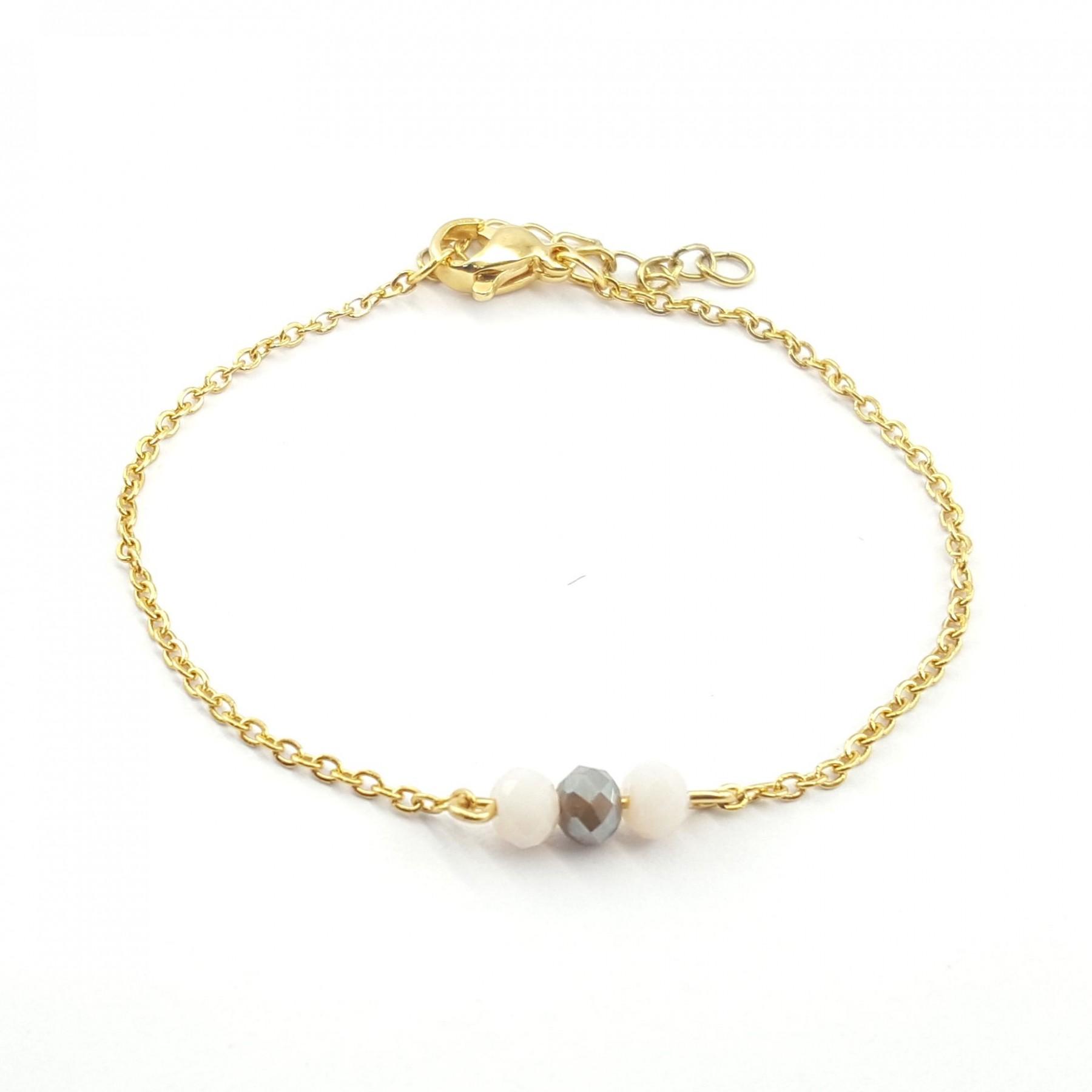 Bracelet chaîne 3 perles