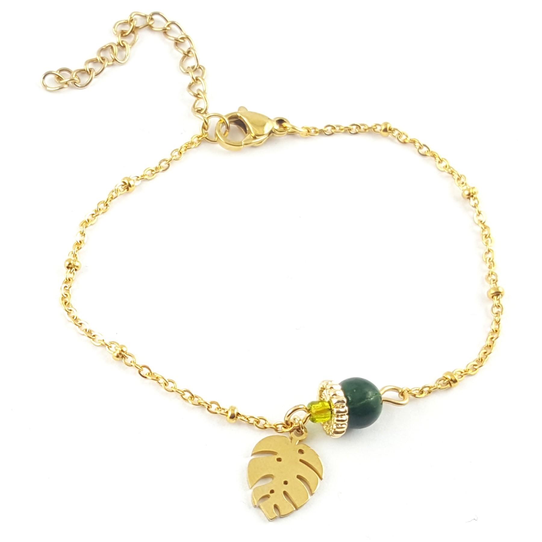 Bracelet feuille tropicale