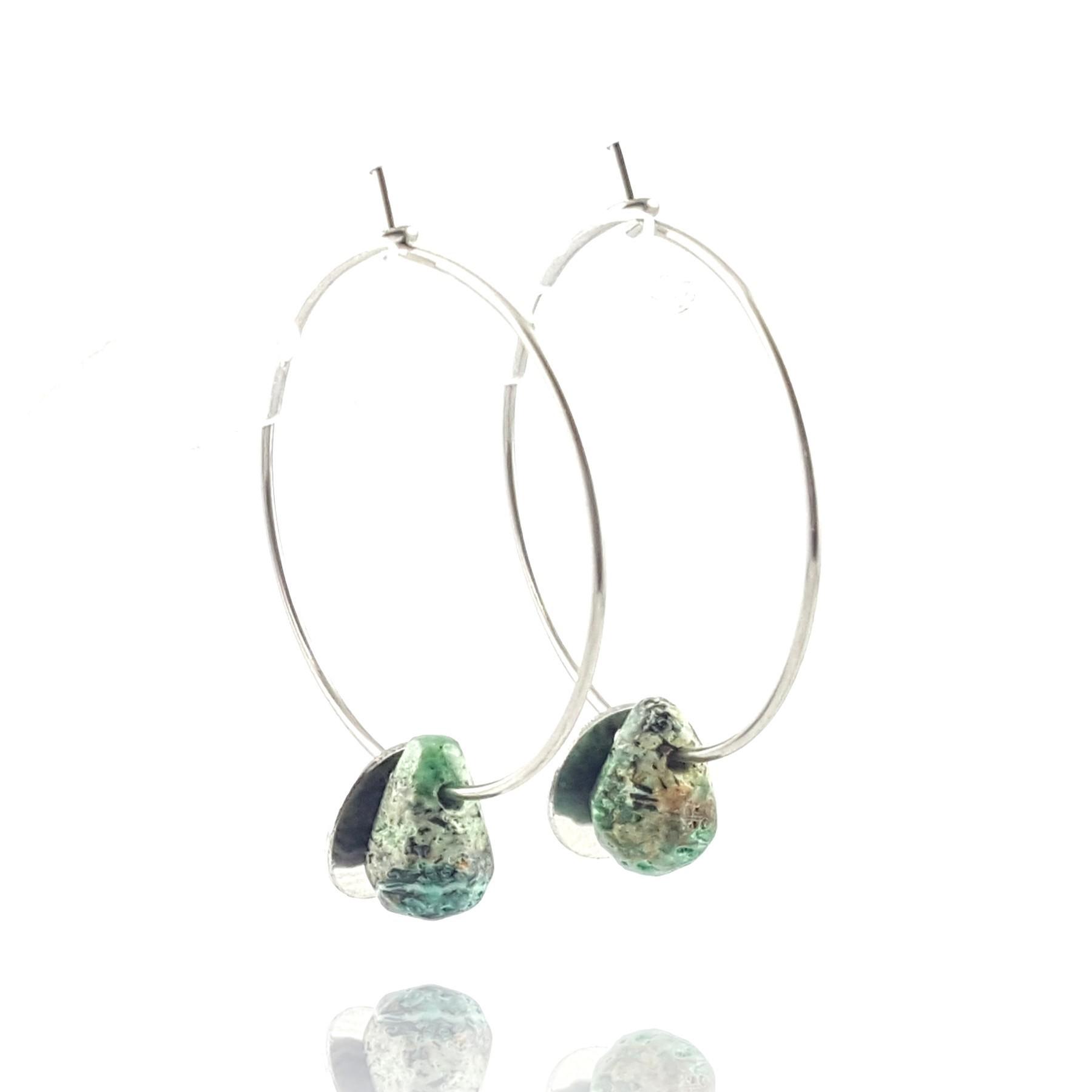 Boucles d'oreilles créoles turquoise africaine