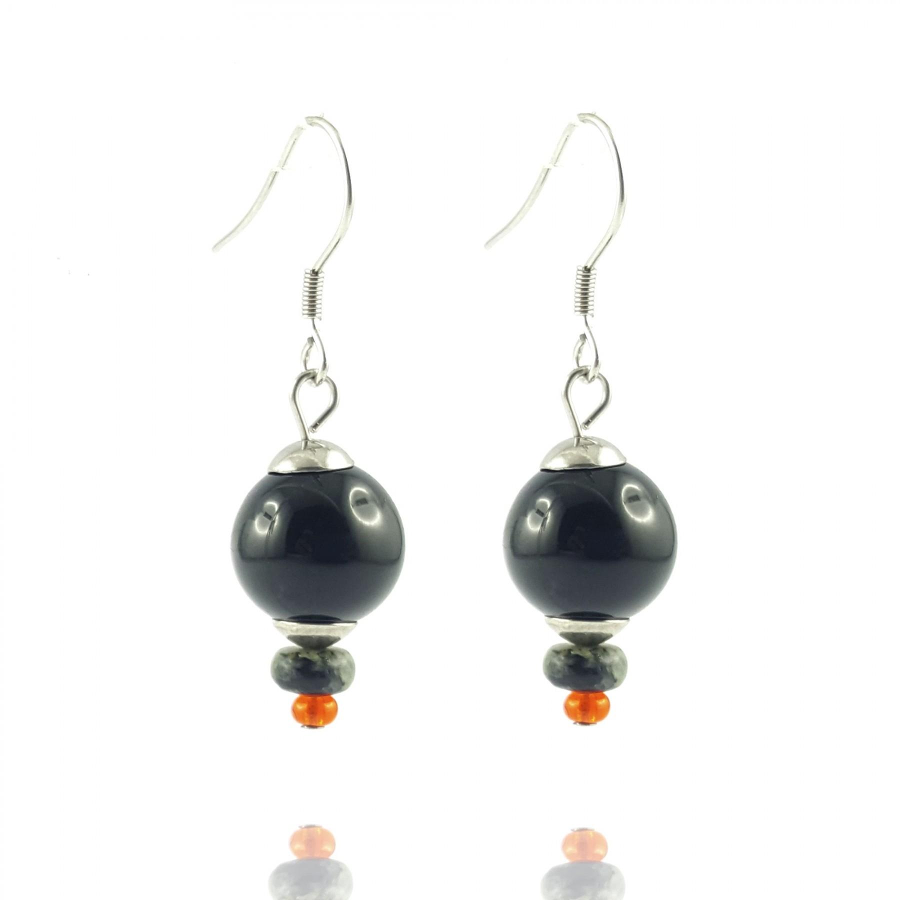 Boucles d'oreilles agate noire et perles