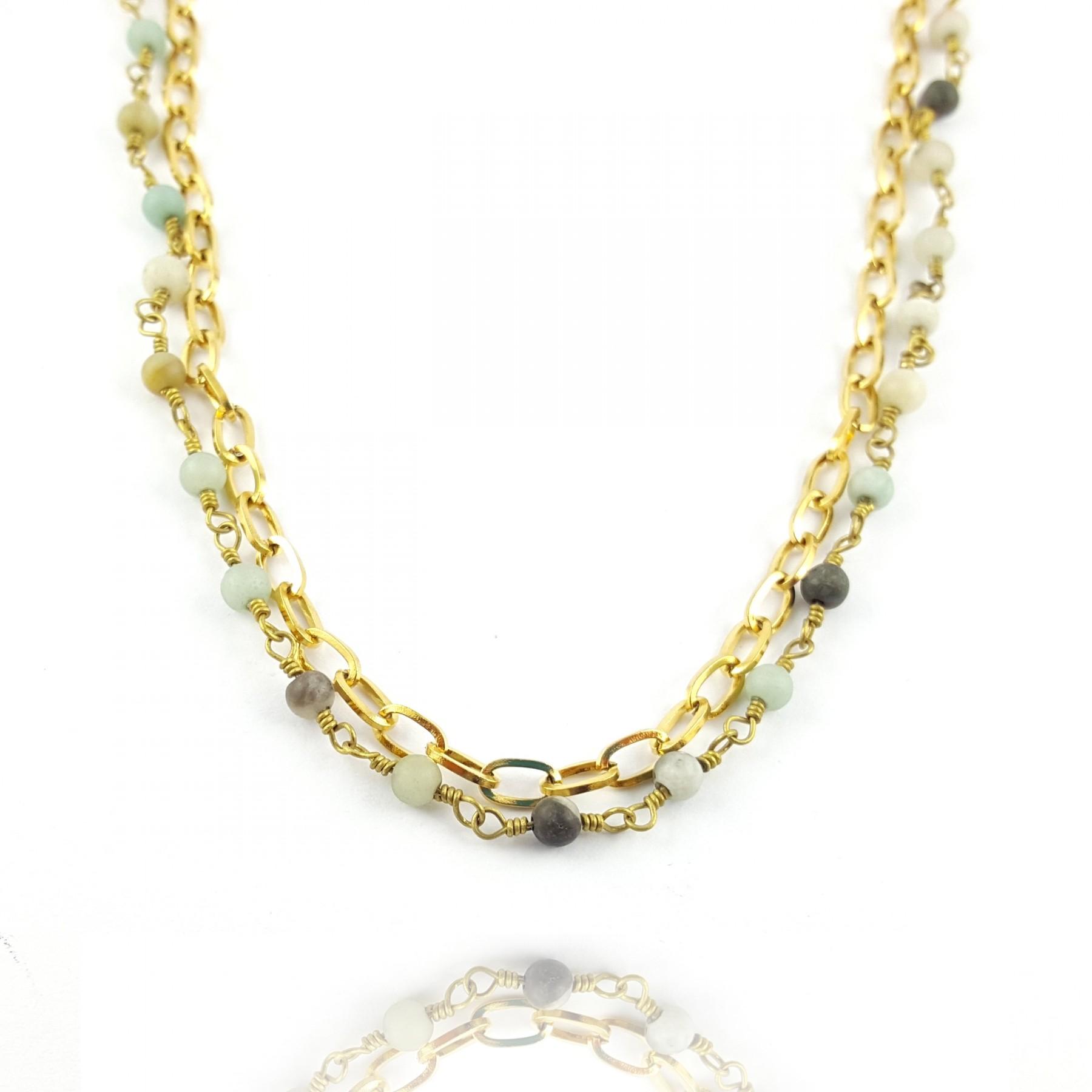 Collier double chaîne amazonite