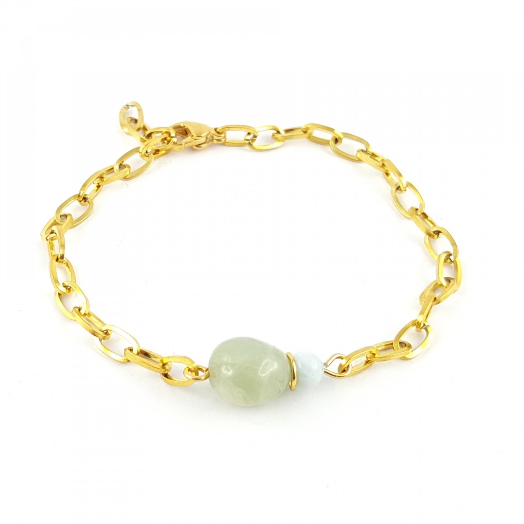 Bracelet chaîne aigue-marine