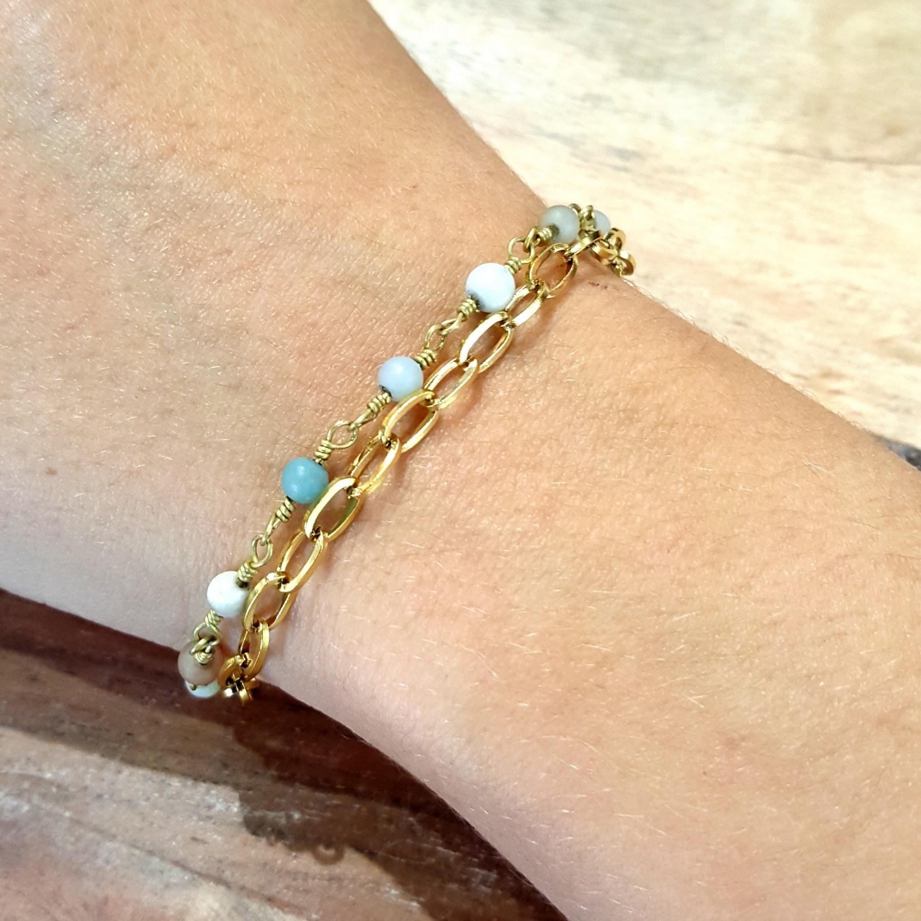 Bracelet chaîne amazonite
