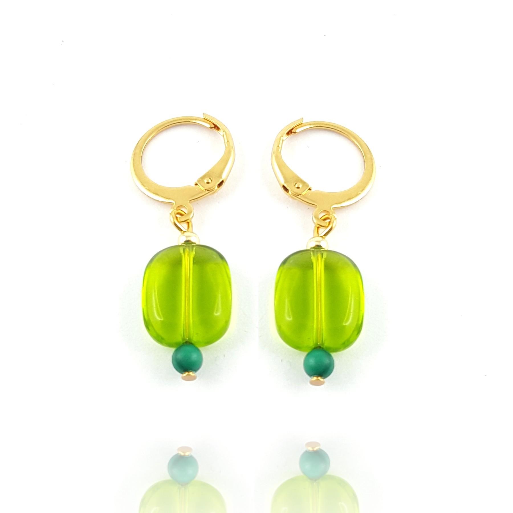 Boucles d'oreilles rectangle vert