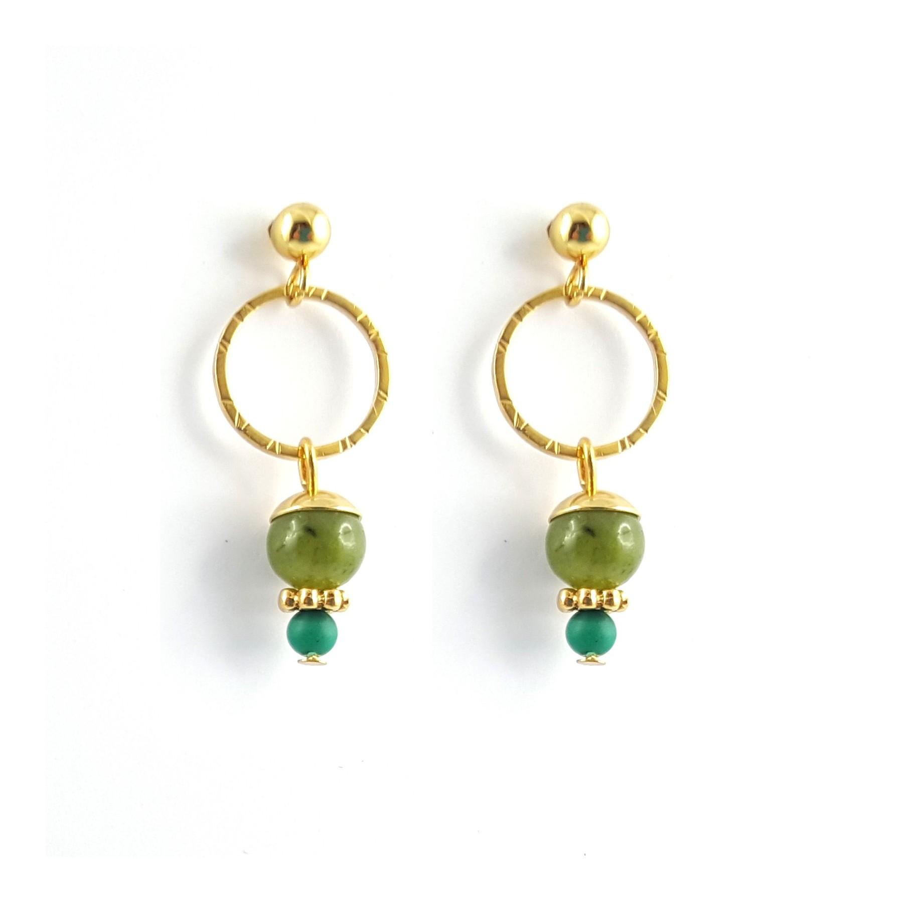 Boucles en jade sur cercle doré