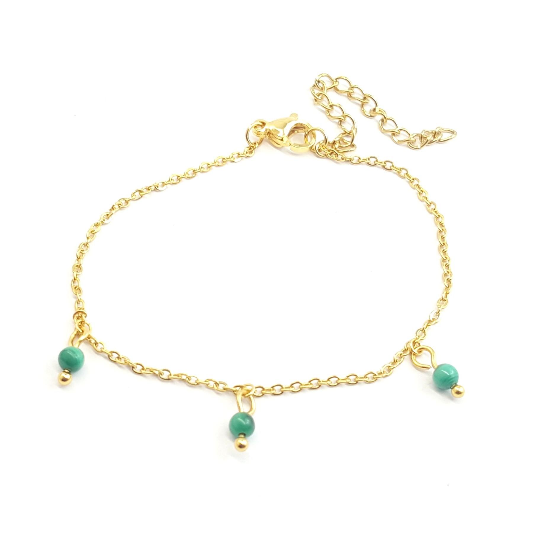 Bracelet pampilles malachites