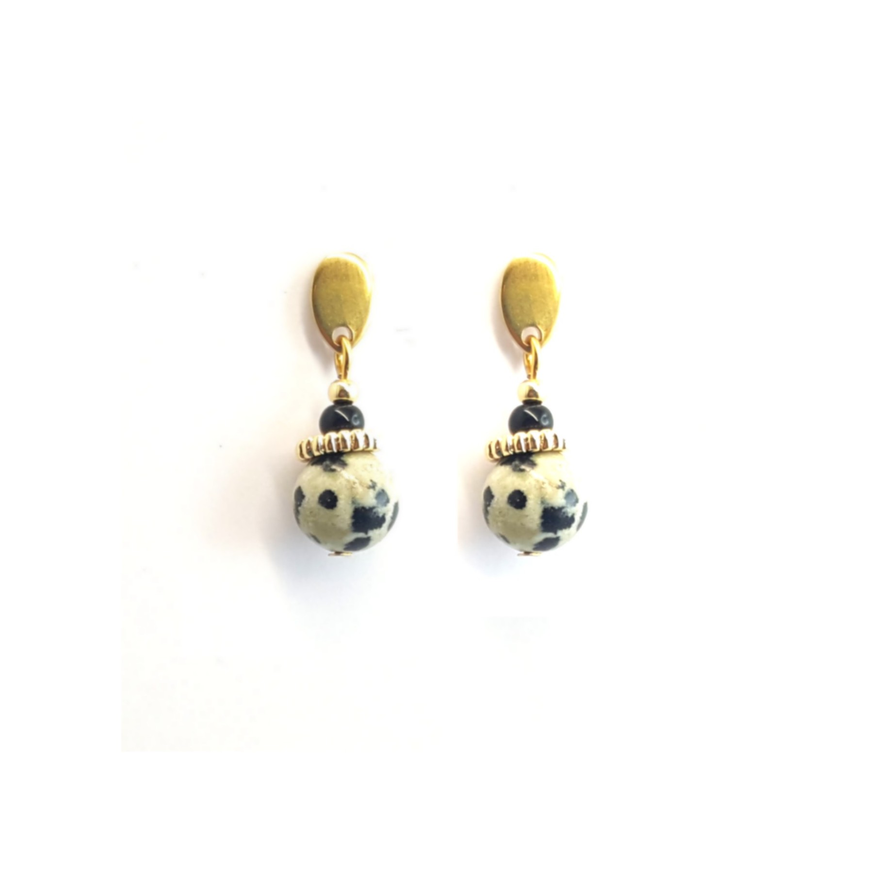 Clous pendants jaspe dalmatien