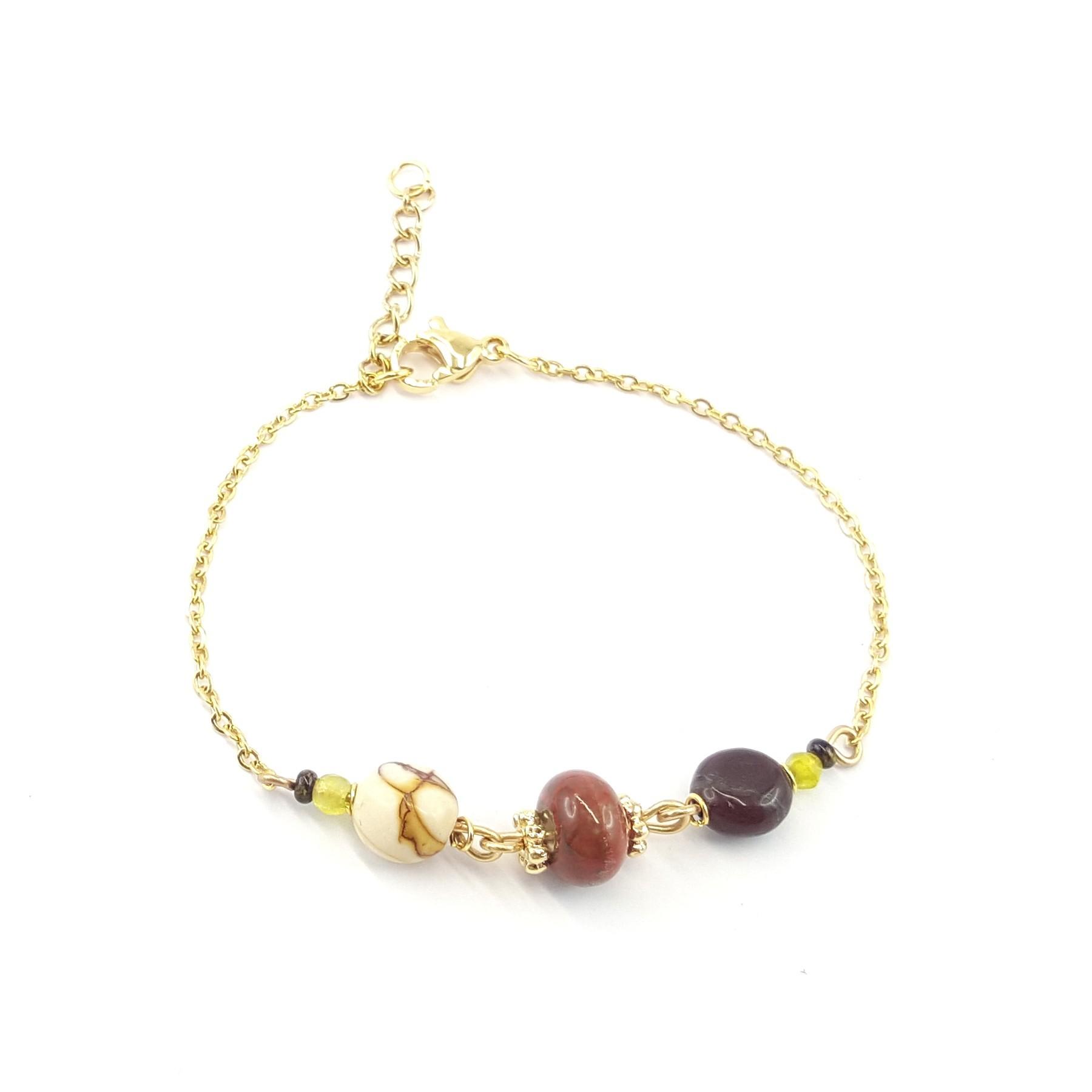 Bracelet acier et matières - Mooka