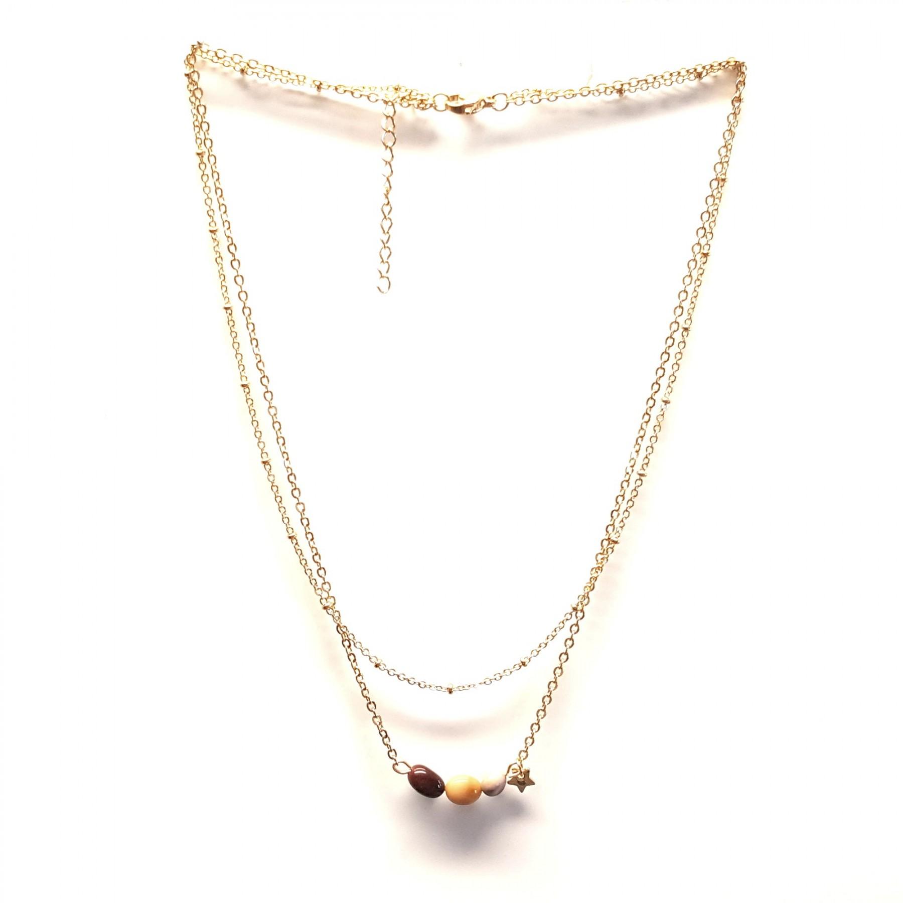 Collier double chaîne et 3 perles mookaïte