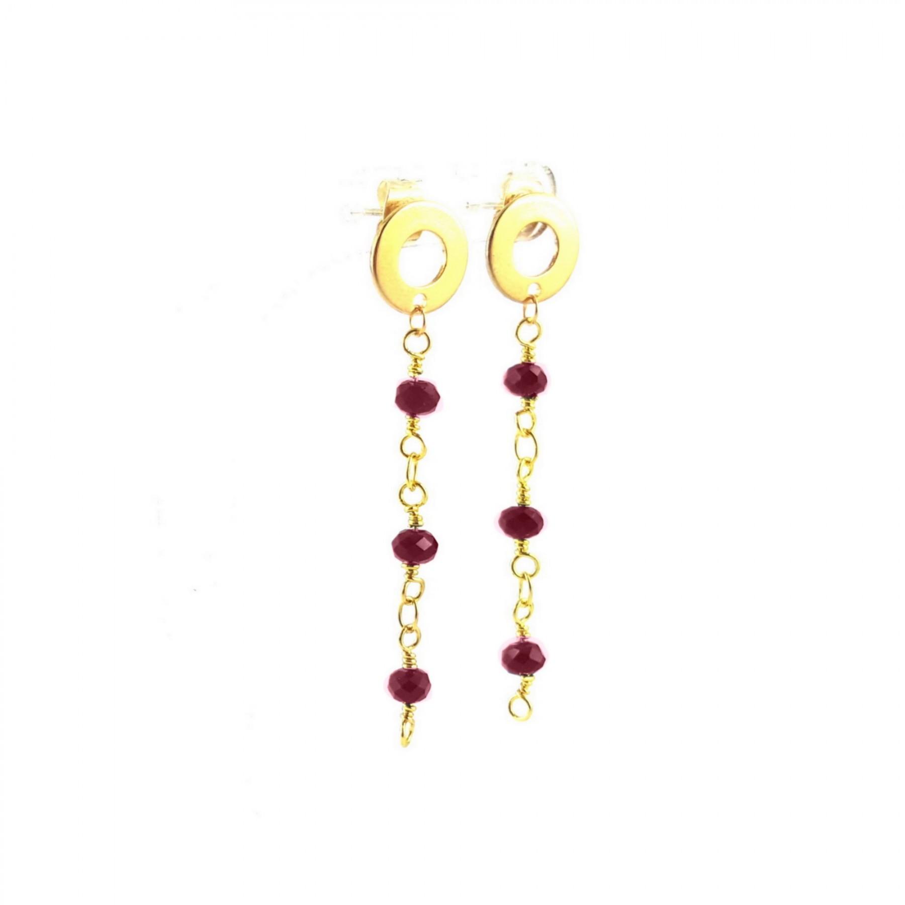 Boucles d'oreilles chaîne et perles grenats