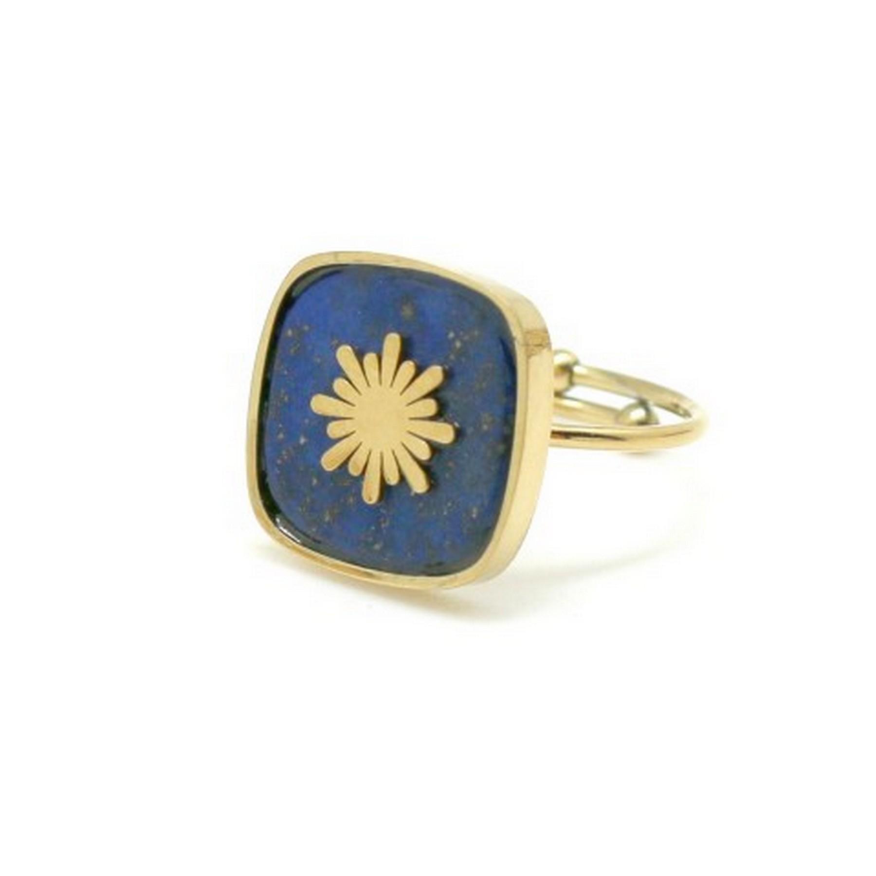 Bague carrée lapis lazuli et soleil