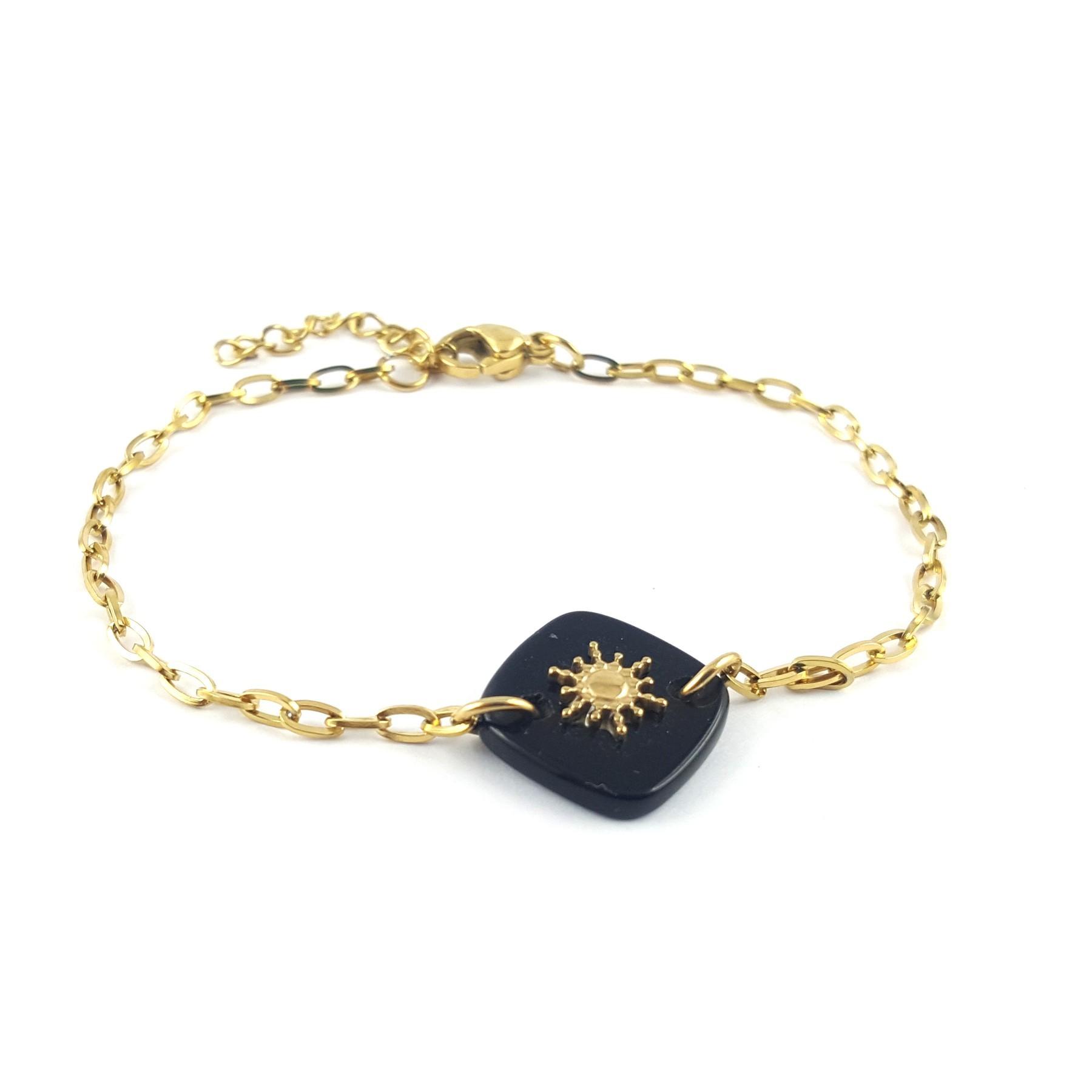 Bracelet onyx et soleil