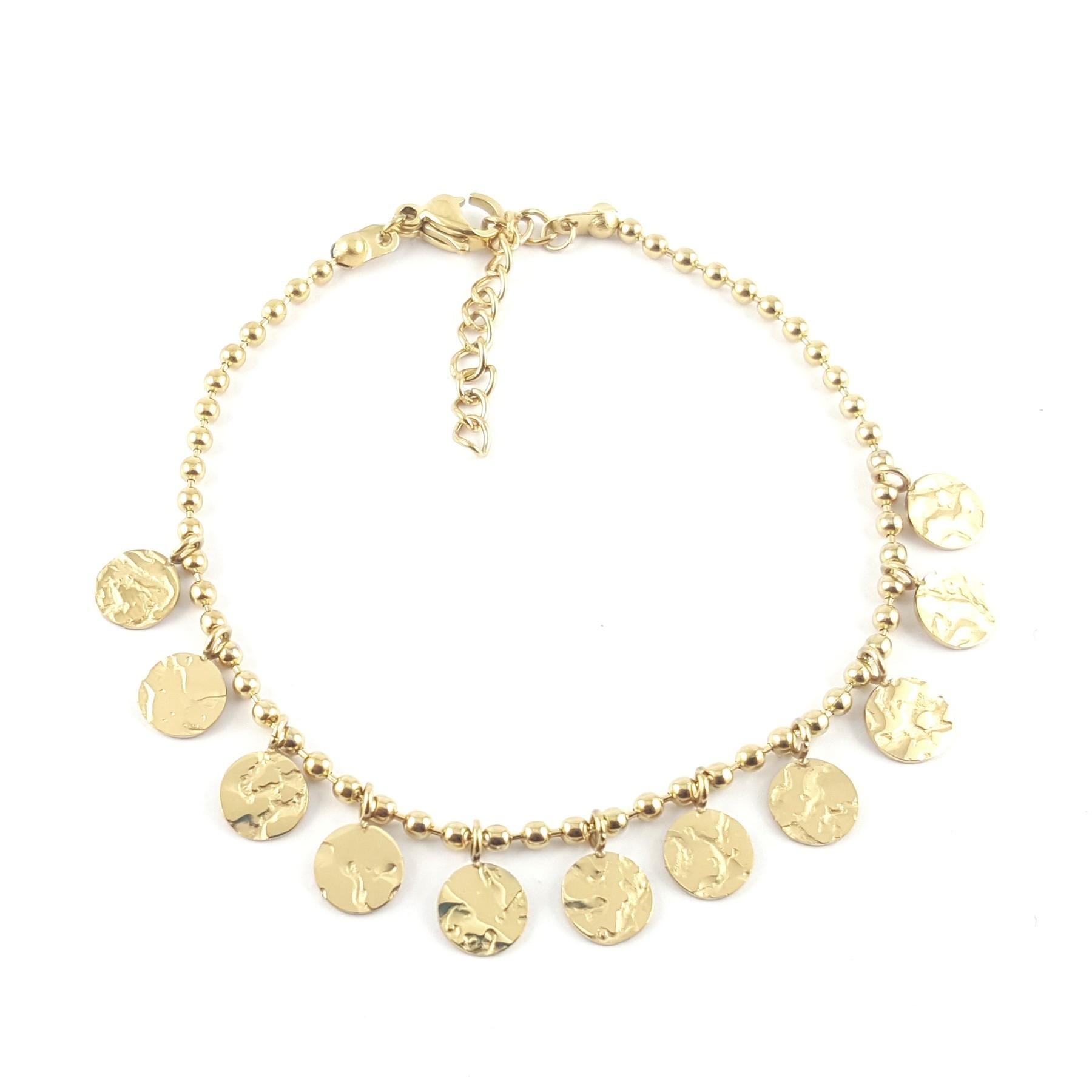 Bracelet pampilles dorées froissées