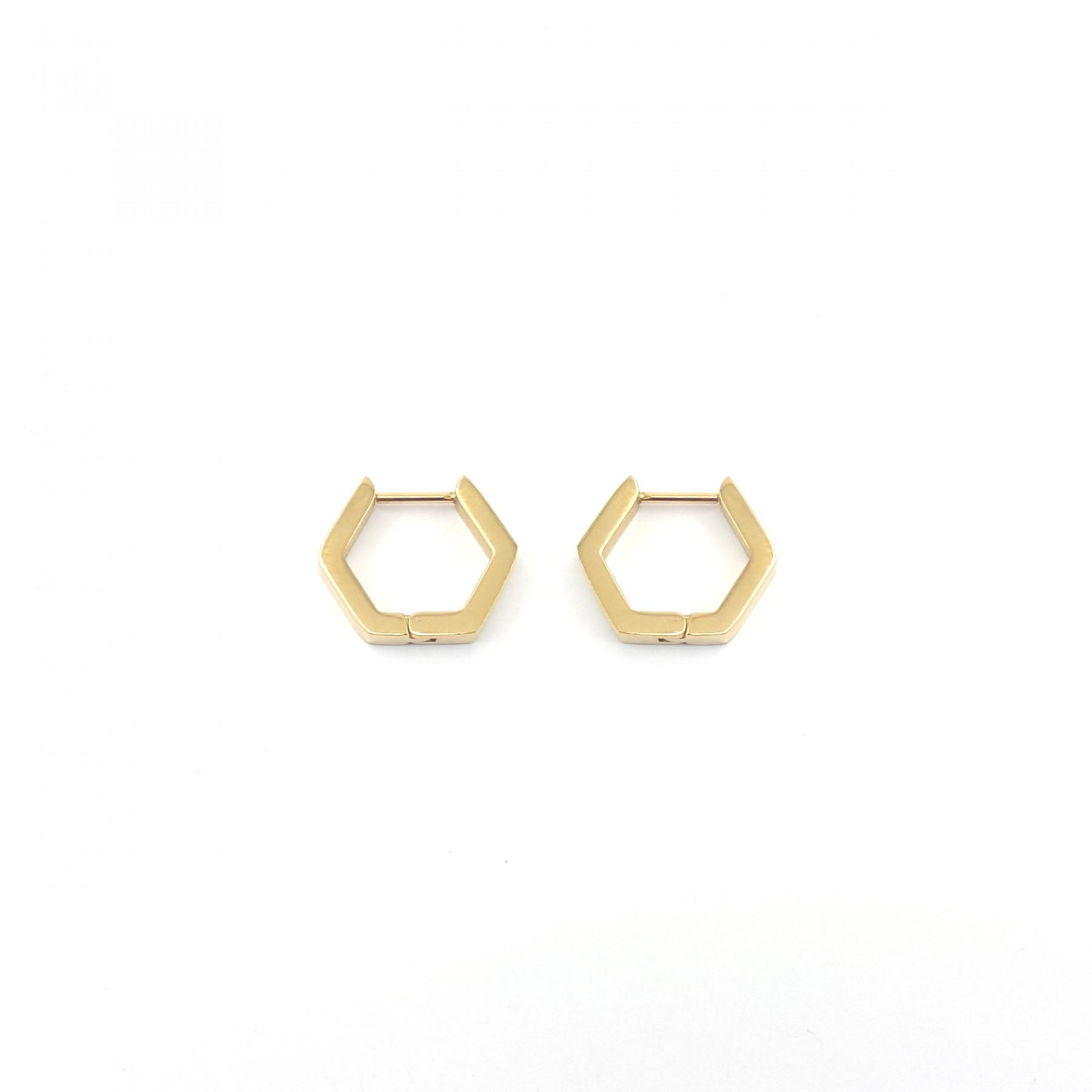 Créoles hexagone acier doré