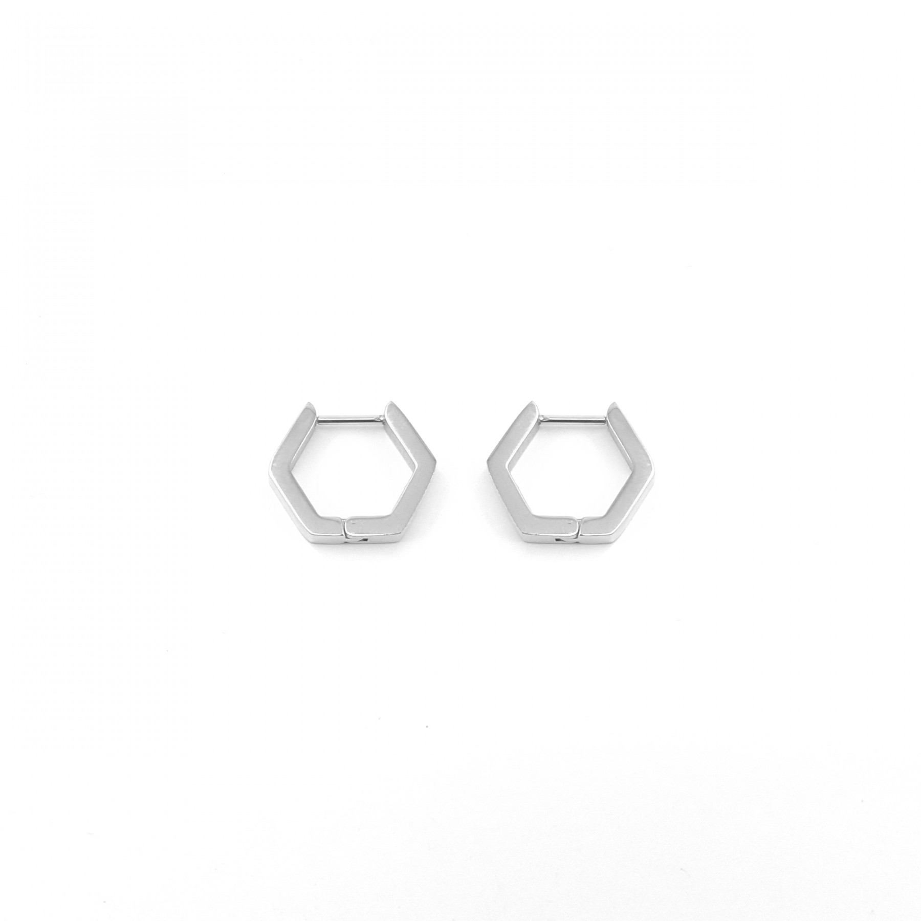 Créoles hexagone acier