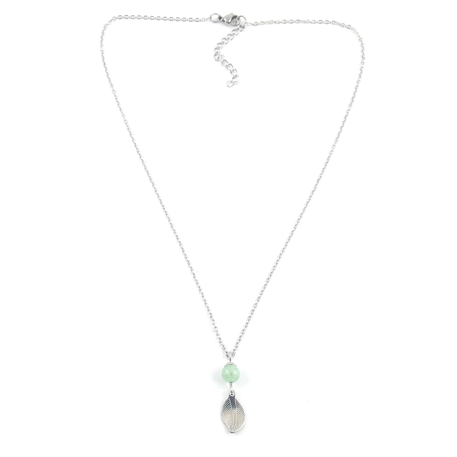 Collier feuille acier et jade