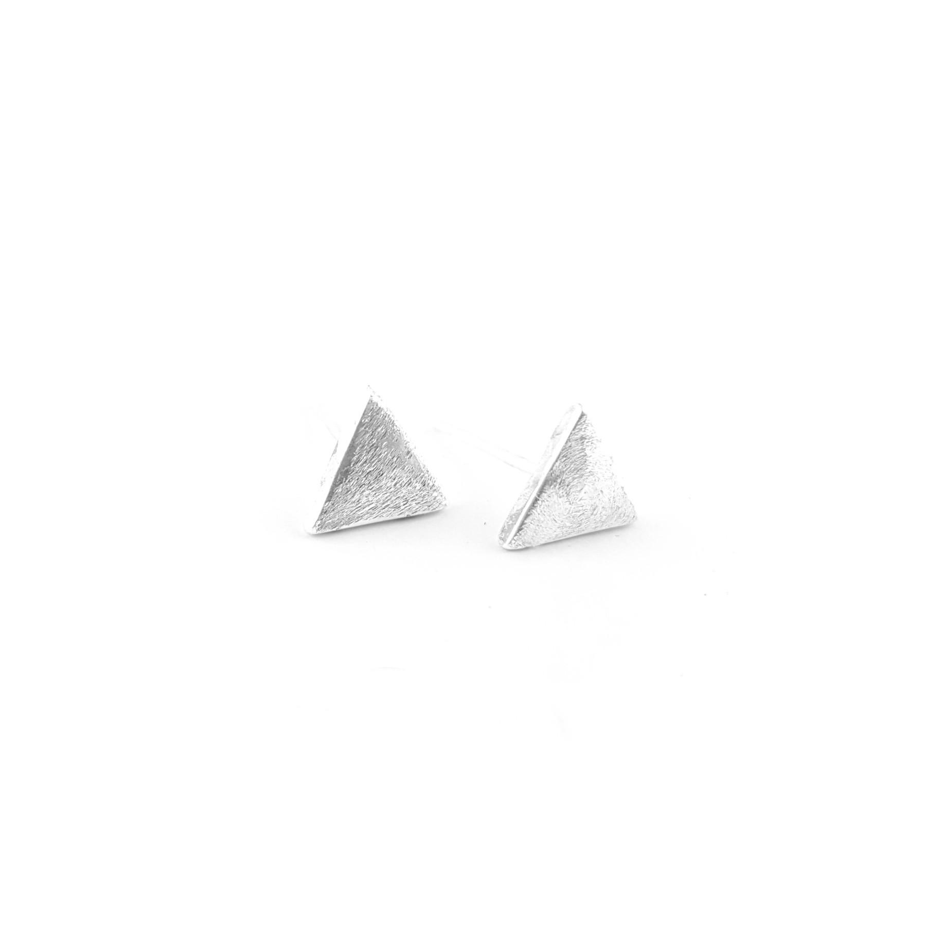BO puces triangle 7mm argent brossé