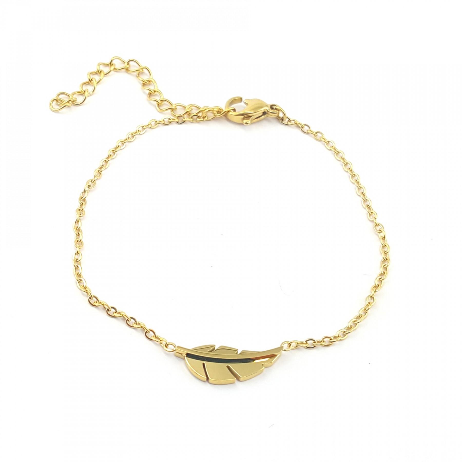 Bracelet plume design acier doré
