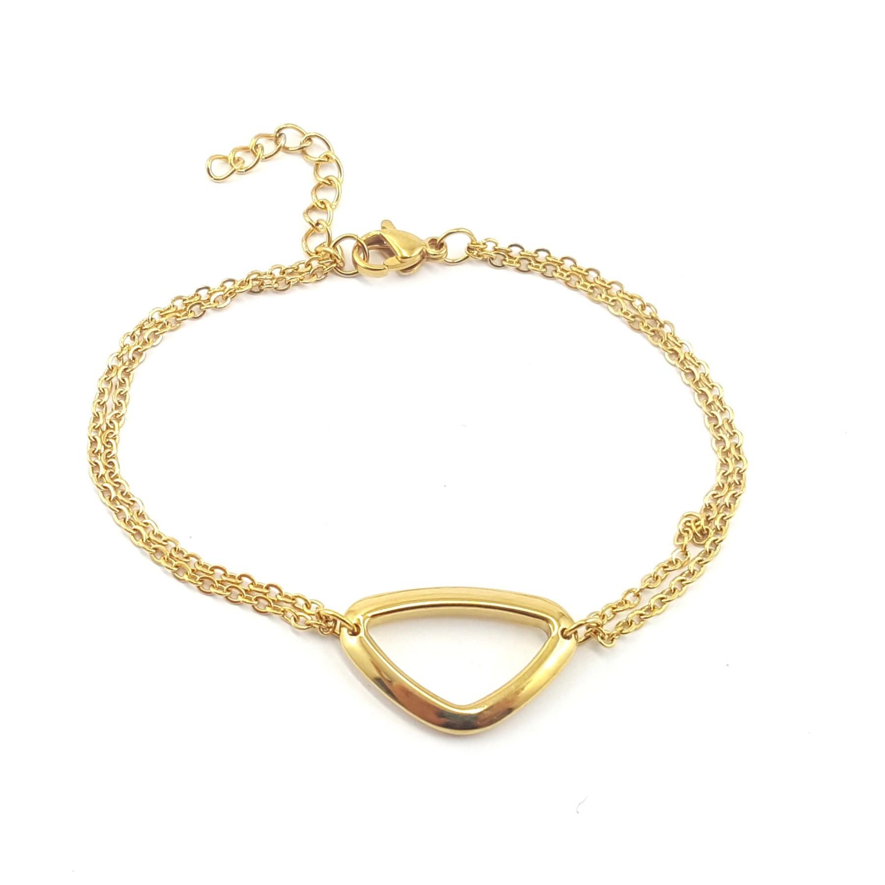 Bracelet triangle acier doré