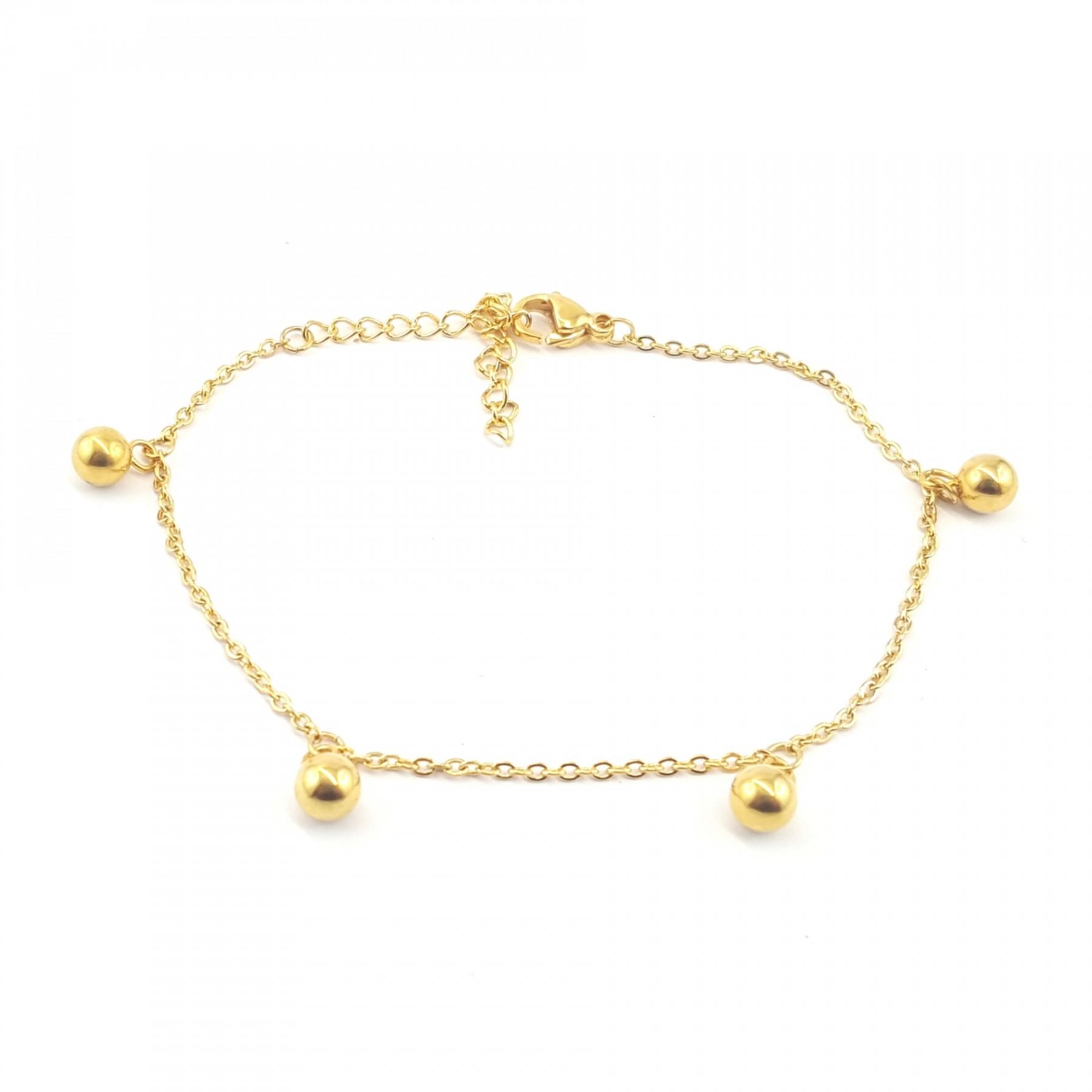 Bracelet sphères acier doré