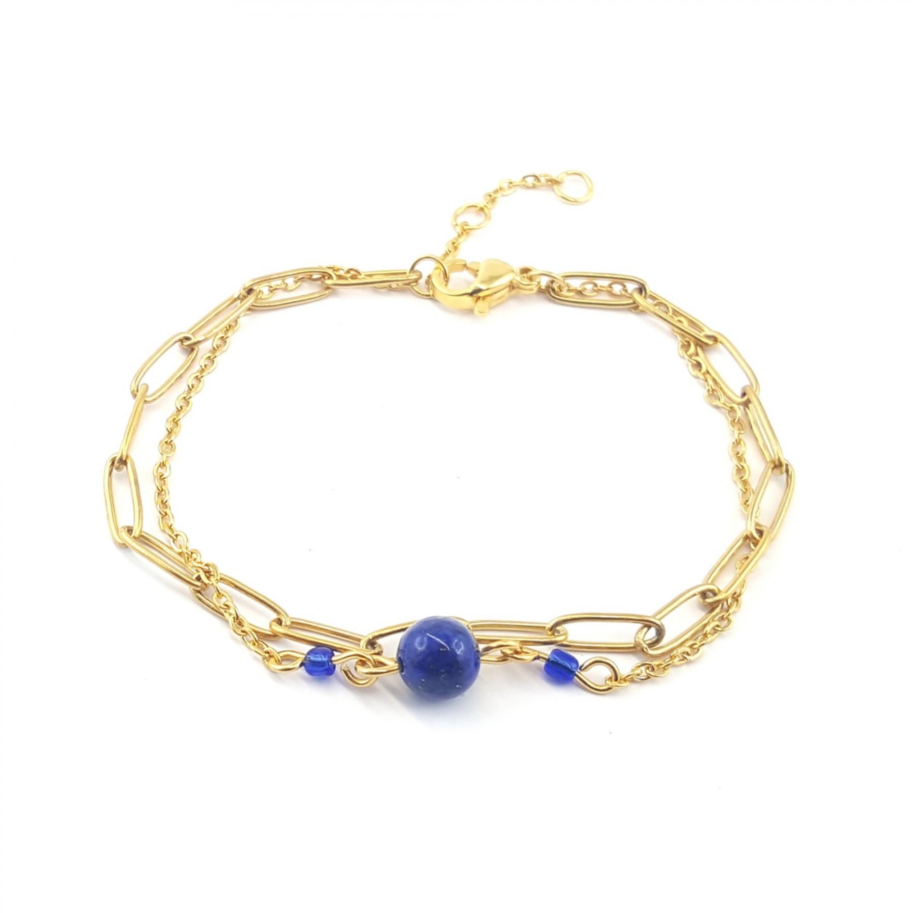 Bracelet chaînes et lapis lazuli