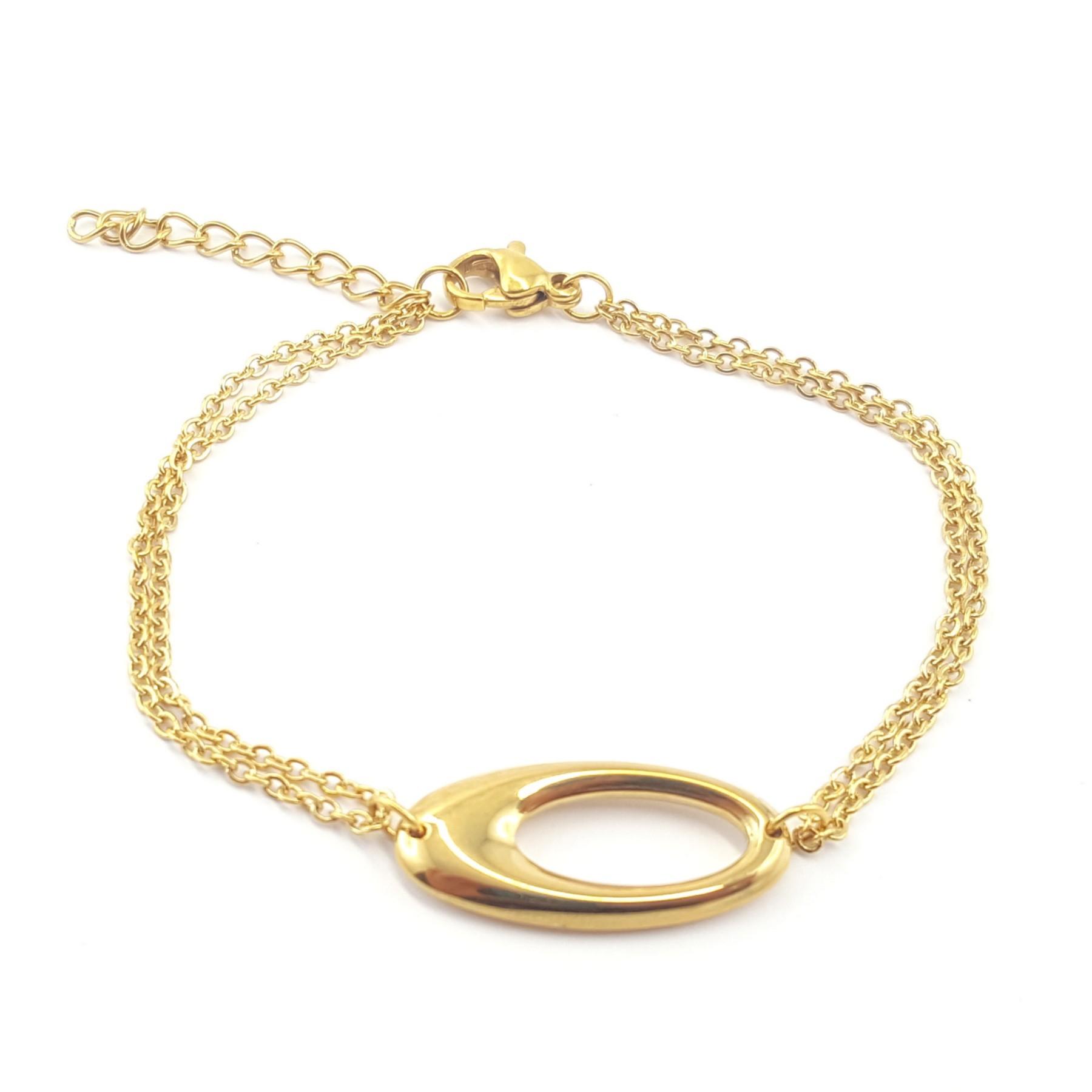 Bracelet ovale acier doré