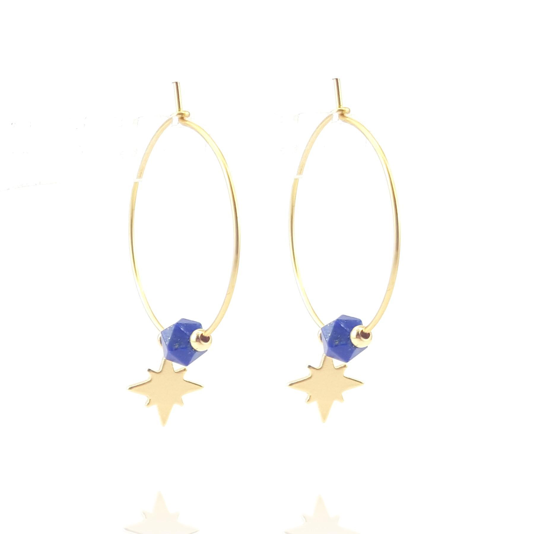Créoles fines lapis lazuli étoile